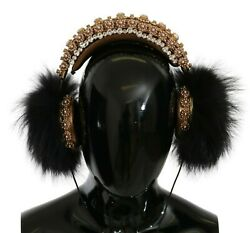 Dolce And Gabbana Headphones Gold Black Crystal Fur Headset Audio Aux Rrp 6000