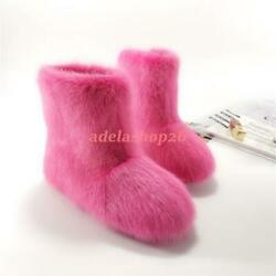 100 Real Mink Fur Womenand039s Mid-calf Boots Pull On Winter Snow Flat Warm Shoes Sz