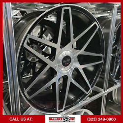 24x10 Gianelle 5and6 Lug Wheel And Tire Package Black Machine W/ Floating Cap