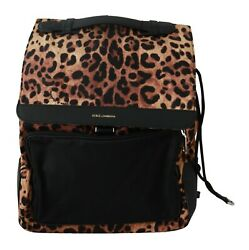 Dolce And Gabbana Bag Leather Leopard Print School Drawstring Backpack Rrp 1600
