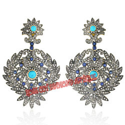 4.84ct Rose Cut Diamond Sterlingsilver Sapphire Turquoise Earrings Free Shipping