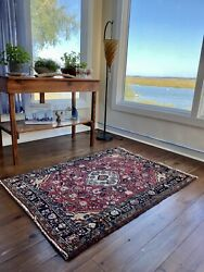 """Vintage 1950's Rare Size And Colors Hand Knotted Wool Rug 4'10"""" X 3'4"""""""
