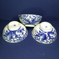 Vintage Three Chinese Porcelain Blue And White Bowls 19th-20th Century.