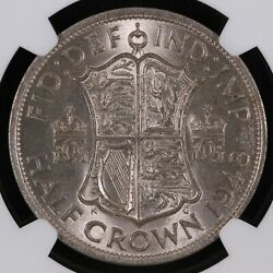 Ngc Graded Ms63 - Great Britain 1948 Halfcrown 1/2 Crown Uncirculated World Coin