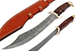 Damascus Steel Blade Marauder Pirate Bowie Knife, Rose Wood And Brass Inlay Handle