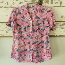 Coldwater Creek, Women's S Cotton And Silk Blue Pink Button Front Ss Blouse Euc