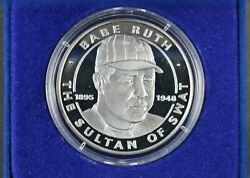 1995 Liberia 10 Dollars 1 Ozt Fine Silver Coin Babe Ruth Sultan Of Swat Commem.