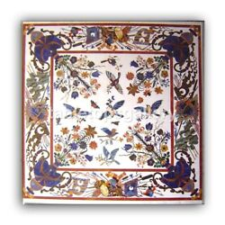 3and039 White Marble Top Dining Table Lapis Scagliola Birds Inlay Interior Decor W327