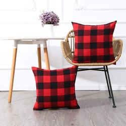 Pack of 2 Christmas Red And Black Buffalo Check Plaid Throw Pillow Covers 18 x18
