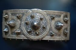 Antique And Original Carved And Chiselled Silver Buckle With Niello Work