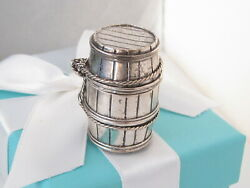 Auth And Co Silver 925 Beer Barrel Vintage Pill Box Holder