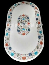 4and039x2and039 Marble Oval Dining Table Top Semi Precious Floral Inlay Living Decors W434