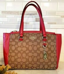 Red Coach 36905 Signature Jacquard Stanton Carryall Great Used Condition $70.00