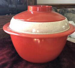Vtg Holiday Melmac Mid Century Red And Cream W/ Brown Speckle Ice Bucket 3pcs