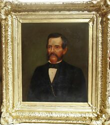 Antique 19 Cent. Large Oil Painting On Canvas, Portrait Of A Gentleman, Unsigned