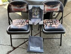 Wwe Ringsider 2017 Raw Ringside 2 Folding Metal Chairs W/ Wall, Plaque And Ticket
