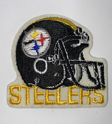 """Vintage Pittsburgh Steelers Helmet Text 4""""x4"""" Iron On Embroidered Patch Old Scho"""