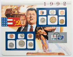 1992-pandd U.s Mint Set Bu First Us And Russian Summit Meeting Amazing Toned Coins