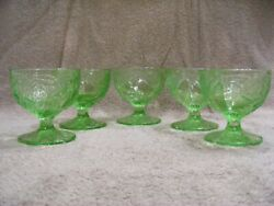 Indiana Green Depression Pear Pattern Sherbet Dishes - Set Of 5