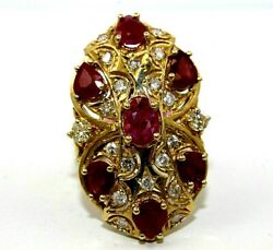 Natural Oval Ruby And Diamond Cluster Long Wide Ladyand039s Ring 14k Yellow Gold 5.16ct