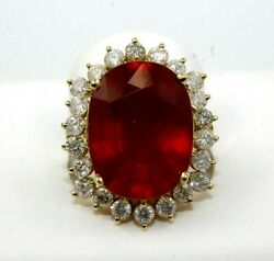 Natural Oval Red Ruby And Diamond Halo Solitaire Ring 14k Yellow Gold 16.91ct