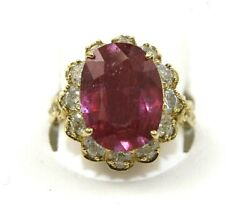 Natural Oval Pink Ruby And Diamond Halo Solitaire Ring 14k Yellow Gold 8.49ct