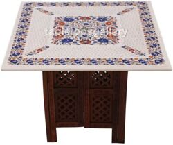 2'x2' Marble Lattice Art Top Coffee Table Lapis Floral Inlay With 18 Stand W467