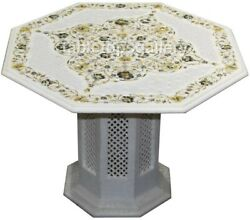 26 Marble Coffee Table Top Mother Of Pearl Floral Inlay With 16 Stand Art W473