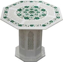 26 Marble Coffee Table Top With 16 Stand Malachite Floral Inlay Art Decor W474