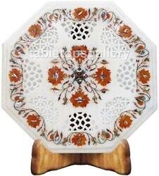16 Marble Designer Coffee Table Top Grill Art Carnelian Floral Inlay Decor W505