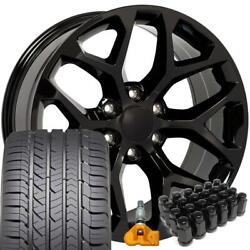 Fit 22x9 Black Snowflake Wheels Gy Tires Lugs Tpms Fit Chevy 5668 Et24