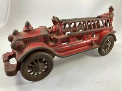 Vintage A C Williams Cast Iron Red Ladder Truck Fire Engine W/driver And Rider