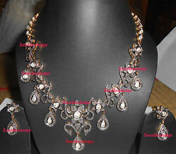 Antique Rose Cut And Polki Diamond 13.42ct Silver Engagement Wedding Necklace Set