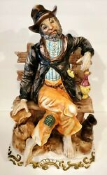 CAPODIMONTE Bum hobo on a Bench Figurine Large Made in Italy $149.93