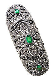 Latest Antique Rose Cut Diamond 6.82ct Silver 925 Emerald Victorian Knuckle Ring