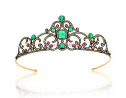Queen Style Antique Rose Cut Diamond 8.14ct Sterling Silver Emerald Tiara Crown