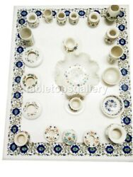 4'x3' Marble Beautiful Dining Table Top Lapis Floral Inlay Living Art Decor W544