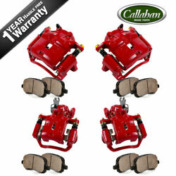 Front And Rear Red Brake Calipers Pads For 2000 2001 Infiniti I30 Nissan Maxima