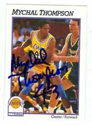 Mychal Thompson Autographed Basketball Card Los Angeles Lakers 1991 Hoops 105