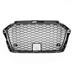 Rs3 Style Front Mesh Grille For 17+ Audi A3 S3 8v - Gloss Black/chrome