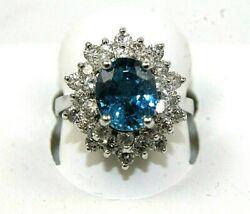 Natural Oval Blue Zircon And Diamond Halo Solitaire Ring 14k White Gold 5.86ct