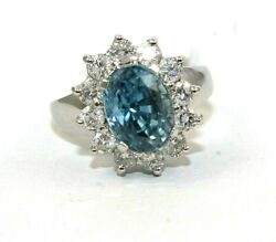 Natural Oval Blue Zircon And Diamond Halo Solitaire Ring 14k White Gold 5.43ct