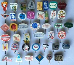 Lot Of 42 Vintage Foreign Hat Stick Pins Advertising