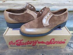 Nos The Factory Store Brown Oxford Style Casual Dress Shoes Sz 10 D, Made In Usa
