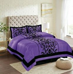 New Empire Home Purple Donna Damask Comforter Set End Of Year 50 Sale