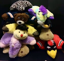 Pillow Pets And Pillow Pets Pee-wees Bundle Of 9 Bears Unicorn Penguin Indians