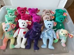Large Lot Of Mixed Beanie Babys. 54 First Owner. Peace, Kicks, Hoot