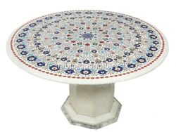 28 Marble Coffee Table Top With 16 Stand Lapis Floral Marquetry Inlay Art W584