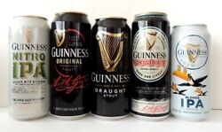Empty Beer Cans Guinness Premium Irish Lager Collectibles Cans 5 Pcs Bottom Open
