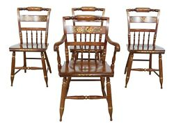 L50528ec Set Of 4 Hitchcock Stenciled Solid Maple Dining Room Chairs